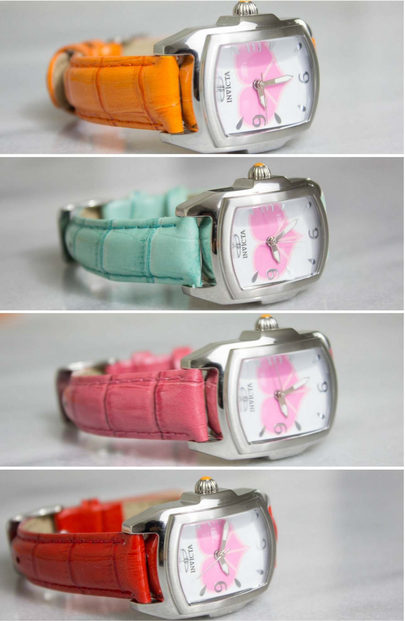 This Watch Is Gorgeous With A Heart Detail On The Dial It Also Comes 7 Leather Straps In White Black Aqua Yellow Pink Red And Orange My Fav